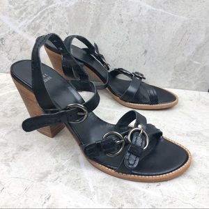 Stuart Weitzman black stacked heel, 9